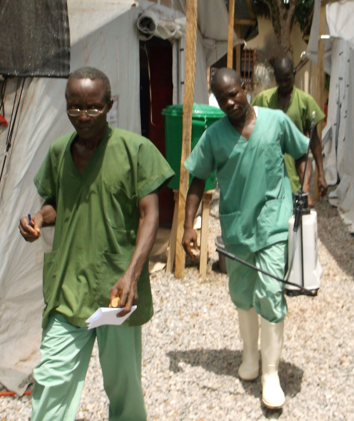 Health care workers at an Ebola treatment unit – NOTE: Image is prohibited for reuse