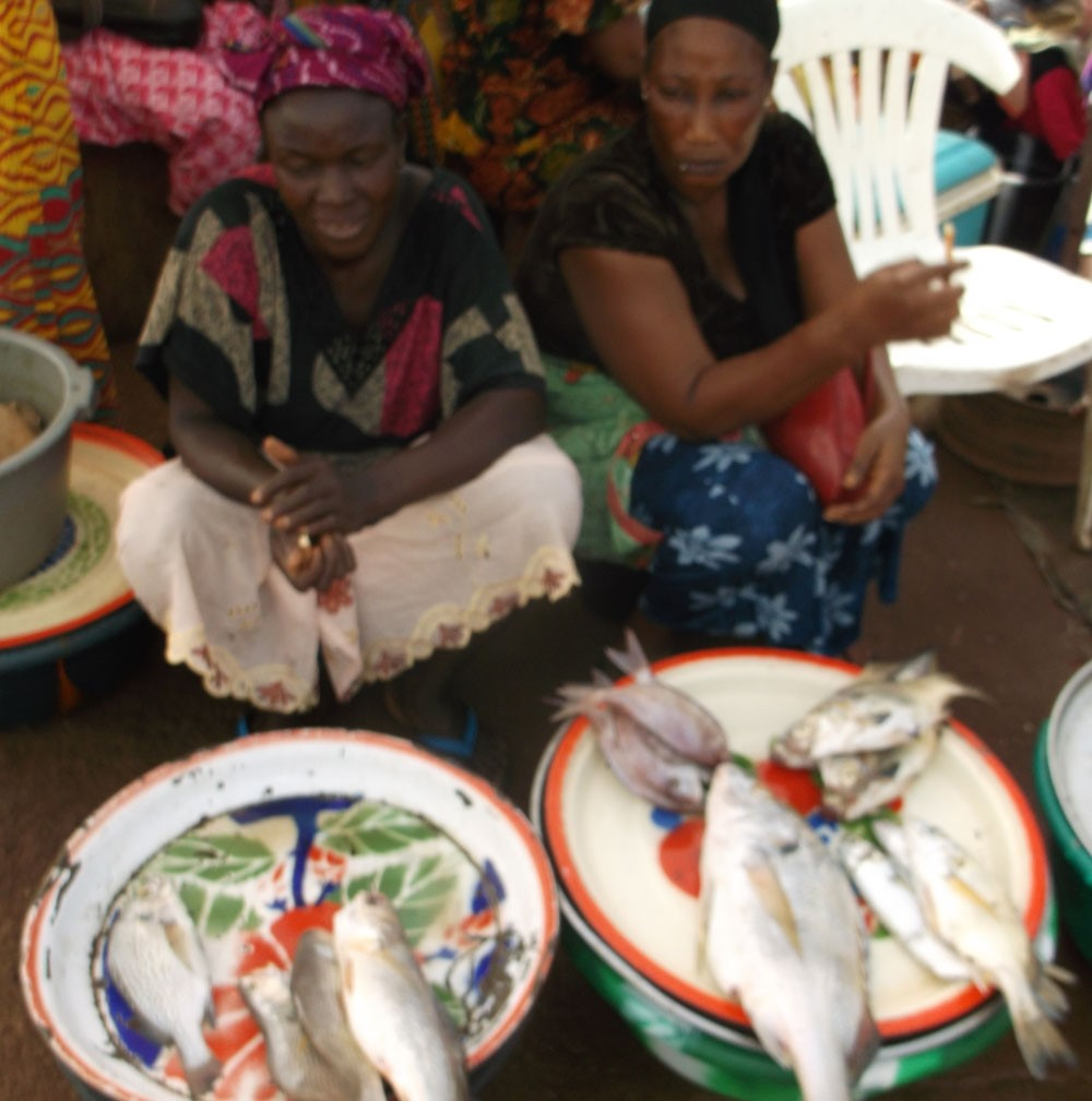 Merchants selling fish at the port of Kamsar - NOTE: Image is prohibited for reuse